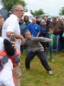 World Egg Throwing Federation President Andy Dunlop with enthusiastic tosser