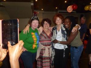 Janet Bettesworth (centre right) celebrates her birthday