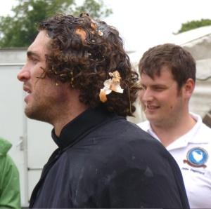 Joel Hicks with right hand egg man John Deptford