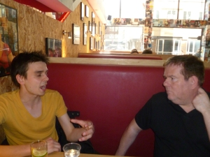Joz Norris (left) met John Ryan at the Soho Theatre