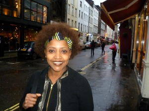 Njambi McGrath in Soho last week