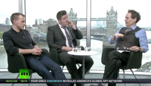Alex Oates (centre) with Dominic Shaw (left)and Max Keiser