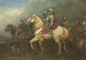 Painting of the infamous Scottish Reiver Auld Wat of Harden