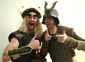 Manly Leo (left) poses wit Darren Walsh for their upcoming Atilla The Pun show