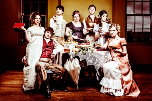 The cast of Austentatious: An Improvised Jane Austen Novel (Image by Idil Sukan of Draw HQ)