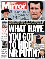 Headline on  today's Daily Mirror