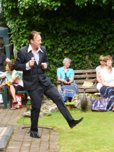 Frank Sanazi performs at yesterday's party