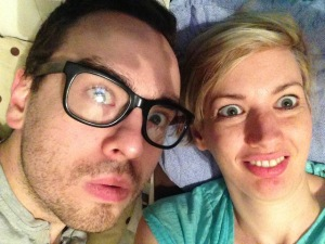 A selfie of Lawrence and Lindsay at home last night