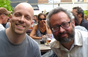 Luca (left) and Giacinto pose for me in Camden yesterday while an attractive lady casually picks her nose behind them