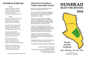 Nunhead publicity leaflet, including the full song lyrics
