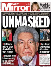 Today's headline in the Daily Mirror