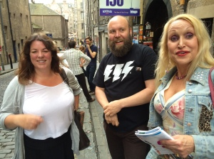 Sara (right), with Claire Smith of The Scotsman & Bob Slayer