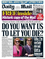 Today's front page of the Daily Mail