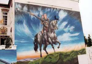 The mural on the side of Dave Courtney's house