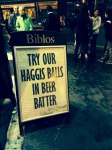 In Edinburgh last night, bad eating options continued