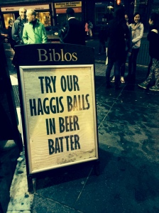 In Edinburgh last night, bad eating options continued
