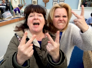 Janey Godley (left) and TV's Lizzie Roper waved me an affectionate farewell