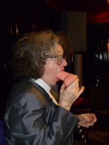 Kate Copstick eats chocolate cock