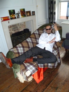Chris taking the chaise longue view yesterday