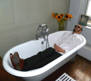Chris Dangerfield at home in his bath yesterday, thinking of getting clean