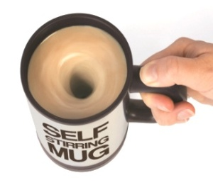 A self-stirring mug in action