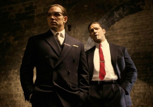 Tom Hardy as Ronnie (left) and Reggie Kray