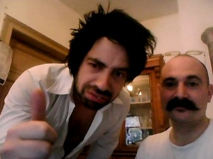 Pull The Other One act Wilfredo (left) with Adam Taffler on Skype this morning