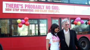 Ariane at Atheist Bus Campaign launch with Richard Dawkins (Photograph by Zoe Margolis)