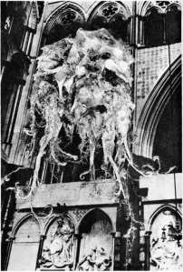 The Quatermass Experiment monster inside Westminster Cathedral (it's a glove puppet)