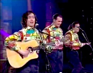 Phil Nichol (left) in Corky & The Juice Pigs in the 1990s