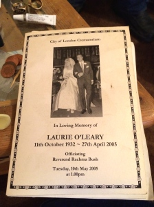 The front page of the funeral service