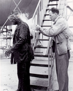 A special effects man applies titanium tetrachloride to make an actor smoke in the movie of Quatermass II