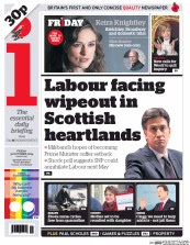 The front of today's 'i' newspaper