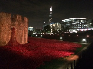 Blood-red poppies pour out of the Tower of London