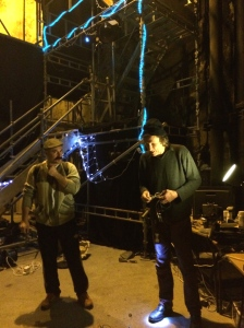 Adam (left) with Martin Soan yesterday, preparing the secret subterranean venue