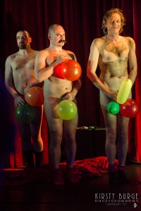 Adam with Matt Roper (left)  and Martin Soan (right) in The Greatest Show On Legs (Photograph by Kirsty Burge)