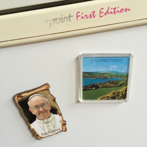 Pope Francis on my fridge with a picture of my home town