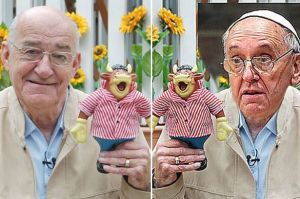 The Daily Mirror spotted a resemblance between Jim Bowen (left) and Pope Francis