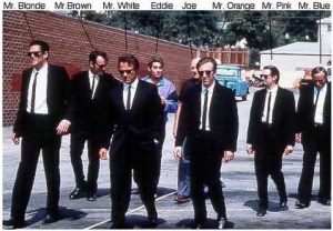 (Extreme right) Edward Bunker (Mr Blue) in Reservoir Dogs
