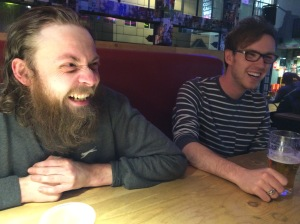 Richard Coughlan (left) with Rich Rose at the Soho Theatre Bar