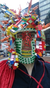 The Man in The Lego Mask & cape (Photograph by Anna Smith)