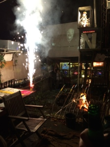 The fireworks started off in the back garden