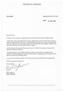 Boris Johnson's reply to the Save Soho! campaign