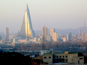 Pyongyang skyline dwarfed by unfinished hotel (not the  Yanggakdo)
