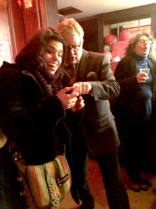Candy Gigi being advised by Jim Davidson  last night while critic Kate Copstick appears to have a fit in the background