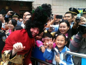 Karl as his character 'Matthew Kelly' with some Chinese fans