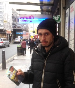 Richard Gadd flyering outside Soho Theatre