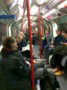 A man was asleep in a train in a London tube