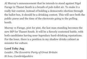 Lord Toby Jug's letter to the papers