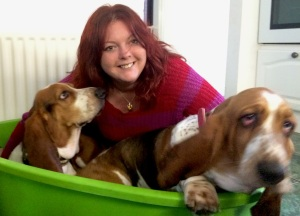 Mel Moon with her Bassett hounds